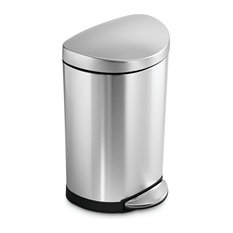 Semi-Round Step Waste Can, Fingerprint-Proof Brushed Stainless Steel, 10-Liter