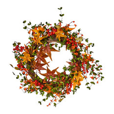 Fall Berry Leaf Wreath On Natural Twig Base, 22""