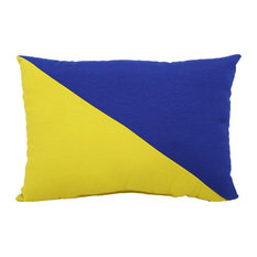 "Blue/Yellow Indoor/Outdoor Pillow, 12""x17"""