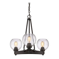 Galveston 3-Light Chandelier, Rubbed Bronze With Seeded Glass