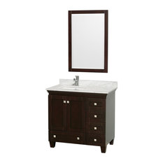 "Wyndham Collection 36"" Acclaim Espresso Single Vanity With White Porcelain Sink"