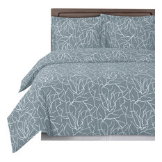 Royal Tradition Ema Printed 100 Cotton Duvet Cover Set Gray And White