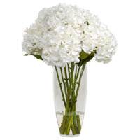 Hydrangea with Folliage in Glass Vase