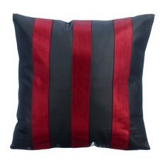 "Metallic Faux Leather Stripes 12""x12"" Black Pillows Cover, Alternating Red"
