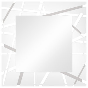 Grid Wall Mirror, White, 90x90 cm