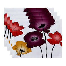 Poppies Floral Print Placemat, Set of 4, Purple