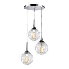 Woodbridge Lighting Alicia 3-Light Pendant Cluster, Chrome, Clear Vintage Bulb