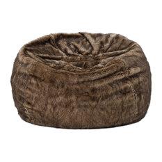 GDFStudio   Meridian Plush Dark Brown Fur Fabric Bean Bag   Bean Bag Chairs