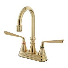 """Kingston Brass 4"""" Centerset Bar Faucet, Polished Brass"""