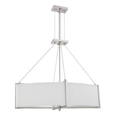 Brushed Nickel LED Oval Chandelier With Slate Gray Fabric Shade