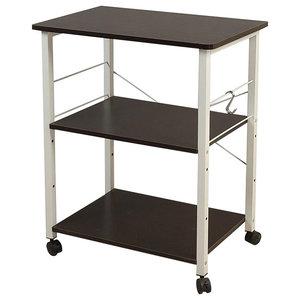 Modern Storage Rack, Steel Metal With 3 Open Shelves and Side Hooks, Black