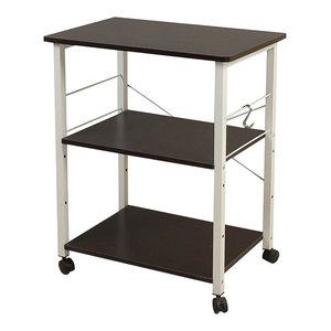 Modern Storage Rack, Steel Metal With 3 Open Shelves and Side Hooks, Black