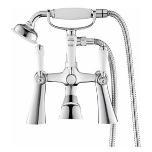 Traditional Bath Filler Mixer Tap with Hand Held Shower Head, Chrome Solid Brass