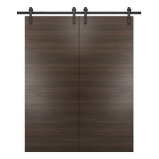 Sliding Double Barn Doors 72 x 96 & 13FT Rails | Planum 0010 Chocolate Ash