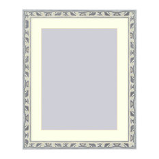 Wall Picture Frame Light Gray Silver Ornate frame - acid-free white matte, 8x10