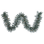 """Vickerman - 9' Crystal Frosted Balsam Artificial Christmas Garland, 50 Clear Lights - 9' x 12"""" Crystal Frosted Balsam Garland, 210Tips, 50Clear Dura-Lit UL Lights, 20 Silver Mercury 1"""" Plastic Balls Runs on 120V AC."""