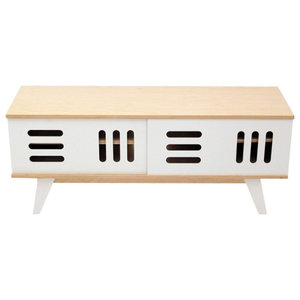 HUH TV Stand With Sliding Doors, Natural and White