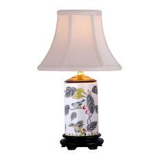"Floral Bird Motif Porcelain Vase Table Lamp 15"""