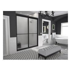 """Newport Framed Sliding Shower Door, Towel Bar, Obscure, Matte Black, 60""""x70"""""""