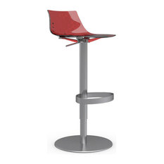 ICE Swiveling With Gas Lift Bar Stool Transparent Red Satin Frame