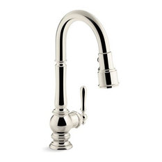 "Kohler Artifacts Kitchen Faucet w/ 16"" Pull-Down Spout, Vibrant Polished Nickel"