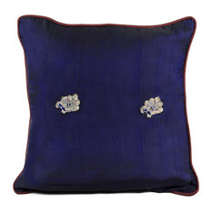 Peacock Sage Silk Pillow Cover, Royal Blue