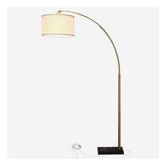 Brightech Logan LED Arc Floor Lamp, Antique Brass