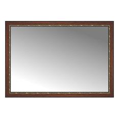 "65""x46"" Custom Framed Mirror, Ornate Brown"