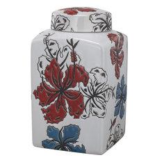 David Tutera Lidded Etched Ceramic Jar, White