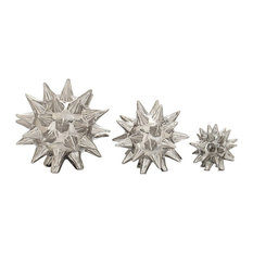 """Ceramic Abstract Spiked Stars, 3-Piece Set, 4"""", 5"""", 7"""""""