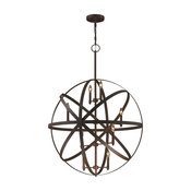 Foucault's Orb 8-Light Flemish Brass Old World Industrial Pendant Round