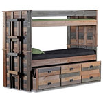 "Sleep and Play USA - Morgan Creek Multicolor XL Bunk Beds with Trundle, Extra Long Twin Over Twin - Our Morgan Creek Multicolor Twin XL Bunk Beds with Trundle gives you sleeping space for 3 taller kids or adults plus storage. This rustic twin xl bunk bed features plank style bed ends with a standard twin size trundle/drawer unit underneath perfect for sleeping overnight guests or siblings. The standard twin size trundle unit features 3 drawers for storing small items. It will conveniently tuck under the bed when not in use. Made from solid Pine, each twin xl bunk bed is unique in it may contain saw marks or open knots, and is stained in a combination of Mahogany, Ginger, Walnut and Gray finishes with no varnish applied. Includes: top and bottom twin xl beds, 2 full length guardrails, end ladder, 3 drawer standard twin size trundle with 5"" extension panel, and Euro-slats. This twin xl bunk bed with trundle is proudly made in the USA. Dimensions: 41""W x 83""L x 67""H"