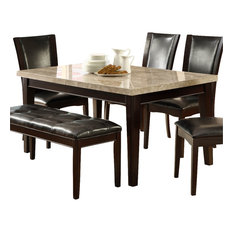 inc homelegance hahn marble top dining table in espresso dining tables