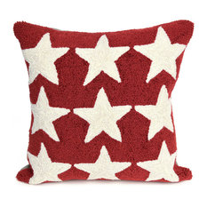 """Frontporch Stars Indoor/Outdoor Pillow Red 18"""" Square"""