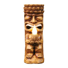 Solar Tiki Totem Flickering Flame Sculpture - Light Up Lawn and Garden Ornament
