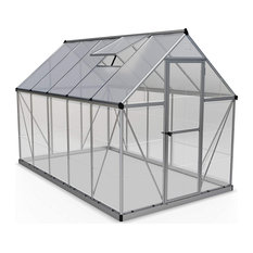 Lockable Greenhouse, Silver Finished Aluminum Frame With Polycarbonate Panels