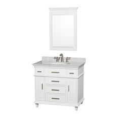 "36"" Single Bathroom Vanity With White Carrera Marble Top, 24"" Mirror, Sink"