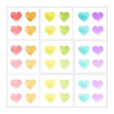 Rainbow Watercolor Hearts by Daphne Polselli, 9-Piece Canvas Wall Art Set