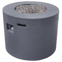 """GDF Studio Leo Outdoor 31"""" Round Concrete Gas Burning Fire Pit, Dark Gray"""