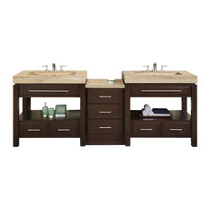 92 in. Sierra Double Sink Bathroom Vanity in Dark Walnut