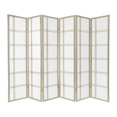 6' Tall Double Cross Shoji Screen, Special Edition, Gray, 6 Panels