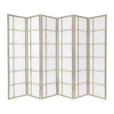 6' Tall Double Cross Shoji Screen, Special Edition, Gray, 6 Panels