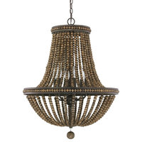 Austin Allen & Co Handley 6-Light Wood Bead Chandelier 9A121A, Tobacco