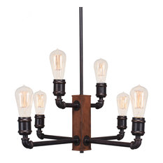 Portland 6-Light Chandelier With Amber Antique Bulbs