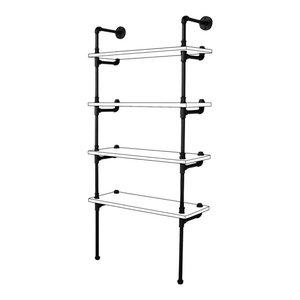 Sacramento DIY Industrial Bookcase Kit, Black Steel
