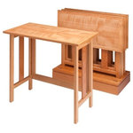 Krantz Design - Set of 4 Curly Cherry Metro Tray Tables with Base - This folding tray table folds out for use, and then can be stored in it's base.  The top has a post catalyzed conversion varnish for maximum water resistance and wear properties.