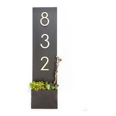 """Standing Tall Address Plaque, 7""""W x 28""""H,, Brown, With Numbers"""