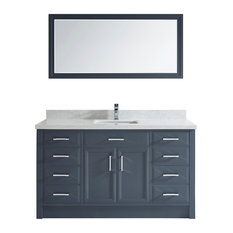 Calais 60'' Vanity Set, Pepper Gray and Solid Surface Marble