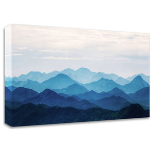 Dark Mountains Watercolor Landscape Painting Canvas Print Contemporary Prints And Posters By Design Art Usa