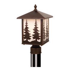 Yosemite 1L Bronze Rustic Outdoor Tree Post Light White Glass